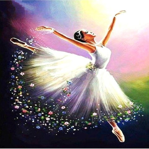 Алмазная Мозаика 40x50 Балерина в прыжке
