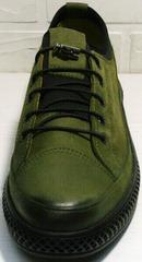 Кожаные спортивные туфли кеды низкие мужские Luciano Bellini C2801 Nb Khaki.