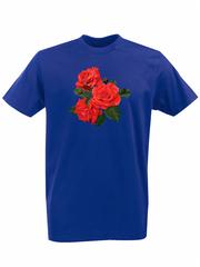 Футболка с принтом Цветы (Розы) синяя 002