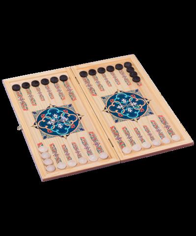 Нарды средние, с деревянными шашками, цветной рисунок