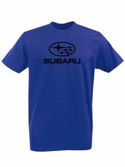 Футболка с принтом Субару (Subaru) синяя 001