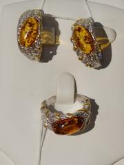 Рапсон БЗ (кольцо + серьги из серебра)