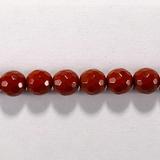 Бусина из яшмы красной, фигурная, 6 мм (шар, граненая)