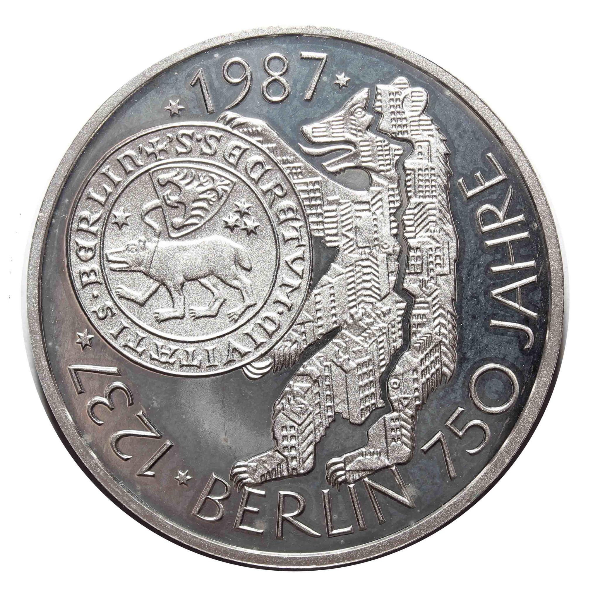 10 марок 1987 год (J) 750 лет городу Берлин, Германия. Серебро. exPROOF