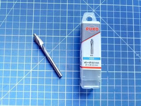 Цековка ц/х M4 4,3/8мм (Проходная чистовая) DIN373 180° HSS-G Ruko 102402 (В)