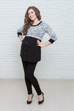 Туника для беременных 07167 черный-серый