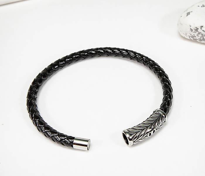 BM583 Мужской браслет шнур из кожи на магнитной застежке фото 02
