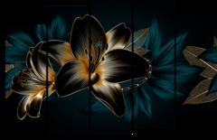 """Модульная картина """"Абстрактные цветы"""""""