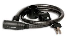 Велозамок на ключ LONGUS, 12/900мм, с креплением, черный/дымчатый