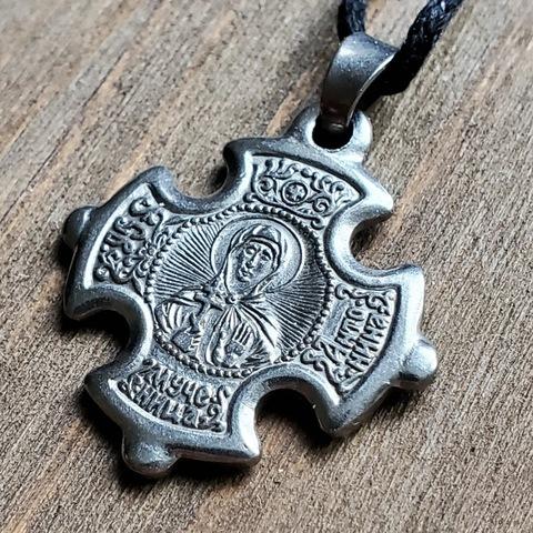 Нательная именная икона святая Антонина посеребренная в кресте с Распятием.