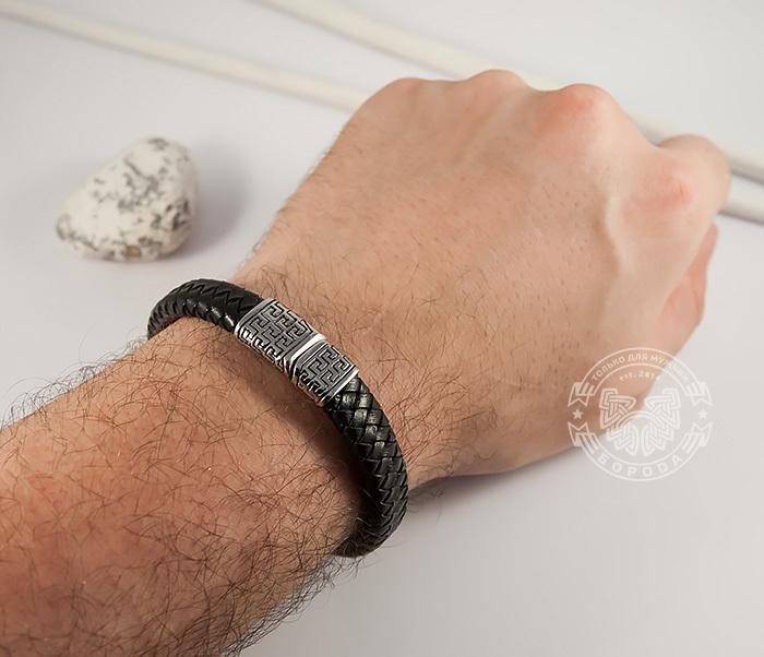 BL428-1 Стильный мужской браслет из натуральной кожи и стали (21 см) фото 04