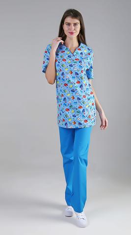 Хирургический костюм с принтом голубой