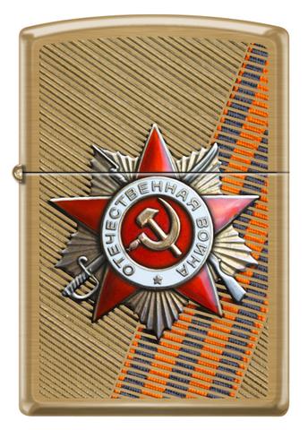 Зажигалка Zippo  (204B ST GEORGE) День победы с покрытием Brushed Brass медь/сталь золотистая матовая