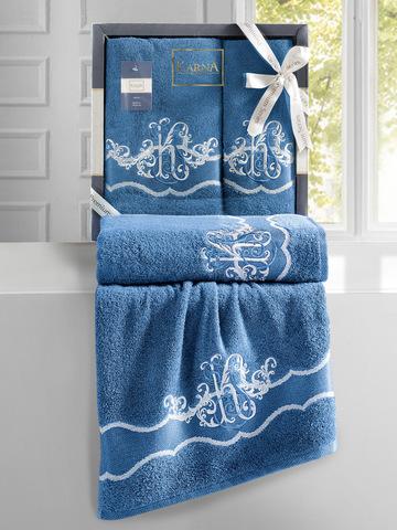 Комплект махровых полотенец ''KARNA'' ADVEN 50х90-70х140 см цвет синий небо