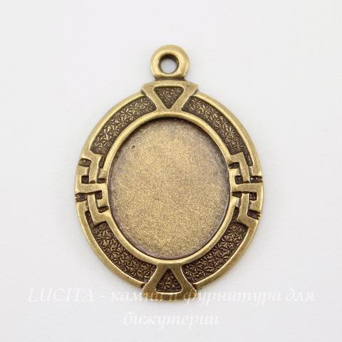 """Сеттинг - основа - подвеска """"Египет"""" для камеи или кабошона 10х8 мм (оксид латуни) ()"""