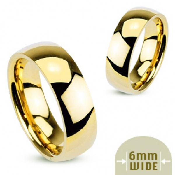 Кольцо обручальное позолоченное классическое для мужчин и женщин из ювелирной стали SPIKES R002
