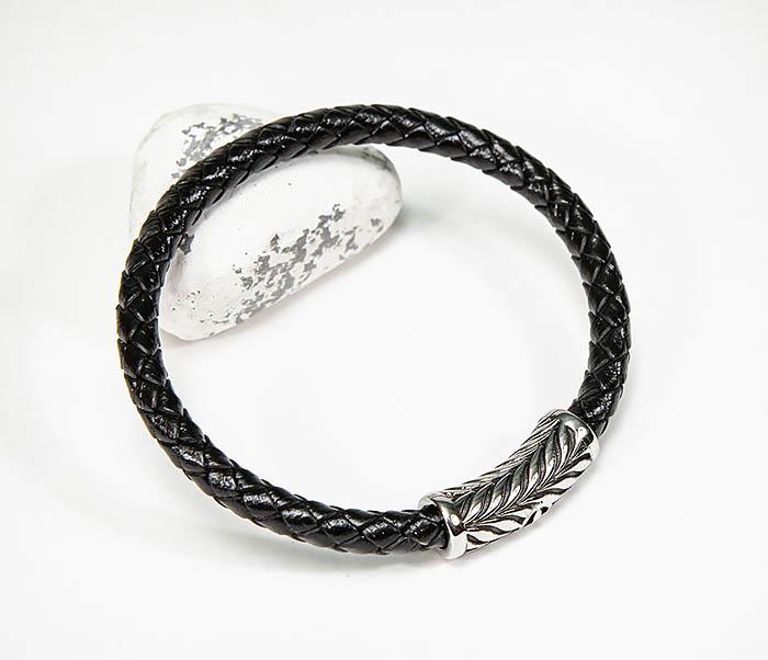 BM583 Мужской браслет шнур из кожи на магнитной застежке фото 04