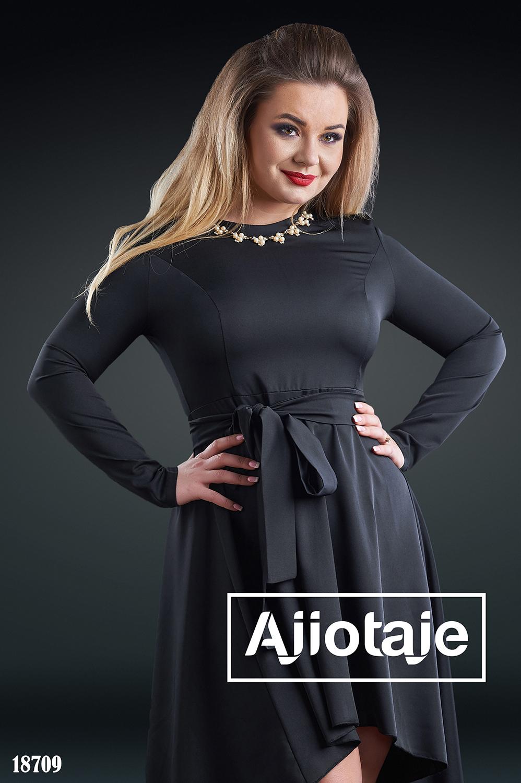 Платье черного цвета с длинным рукавом