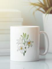 Кружка с изображением  Цветы (Лилии) белая 0012