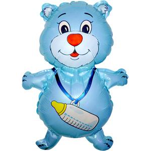 Мини Фигура Медвежонок с бутылочкой голубой 35 X 42см