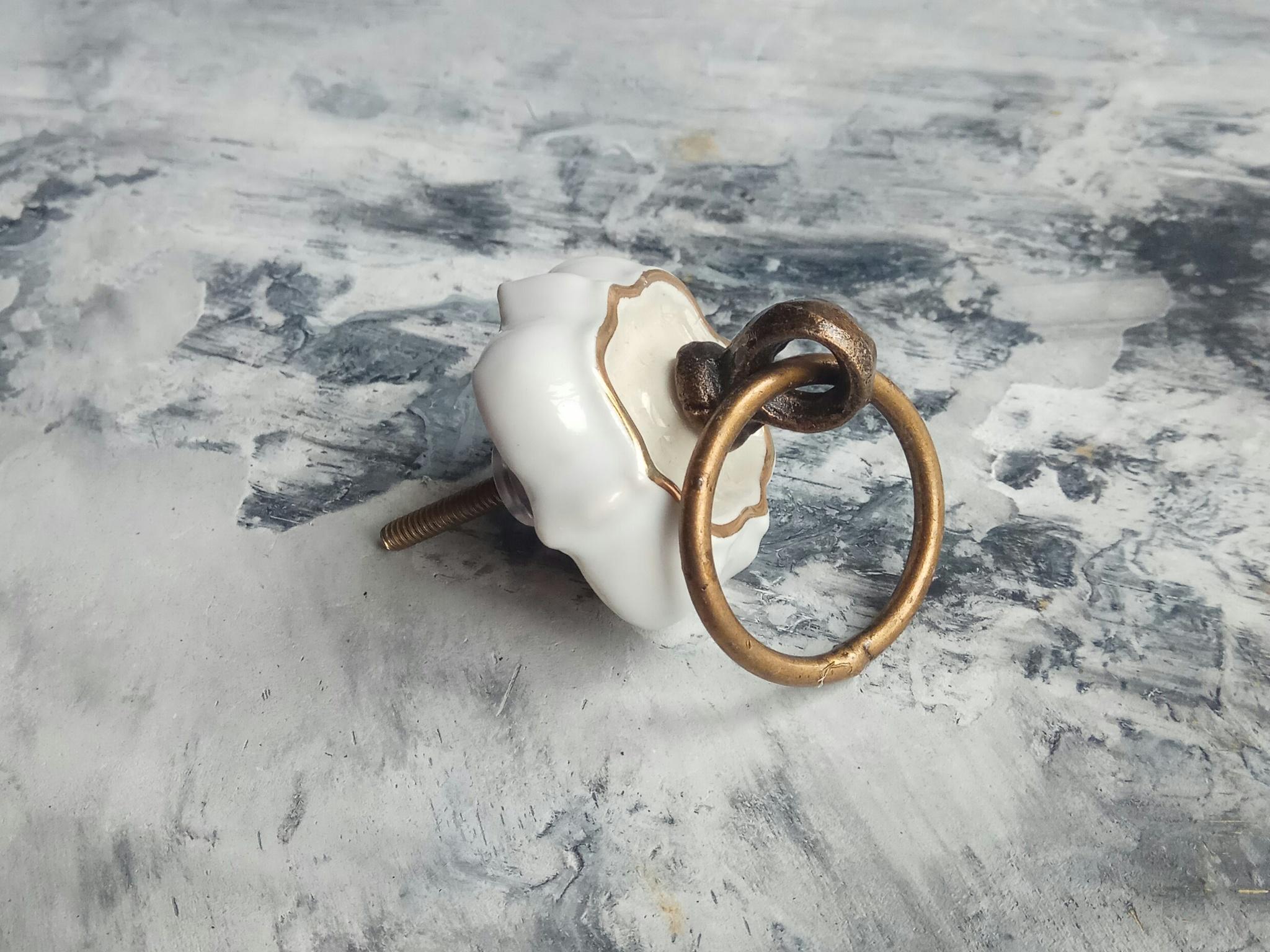 Ручка мебельная керамическая с кольцом, арт. 00001081