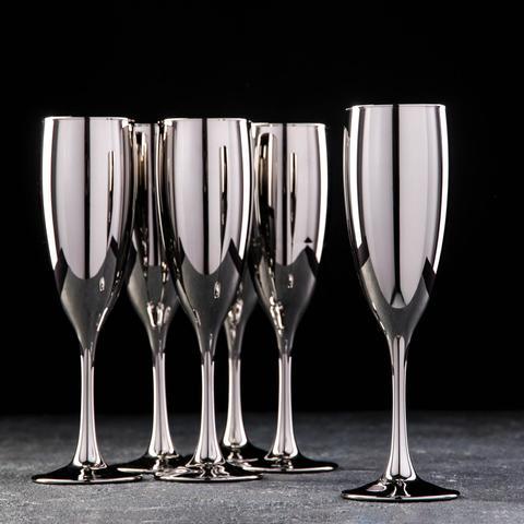 Набор бокалов для шампанского «Серебро», 170 мл, 6 шт