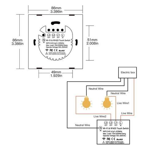 Умный Wi-Fi Bluetooth выключатель Axper SW2