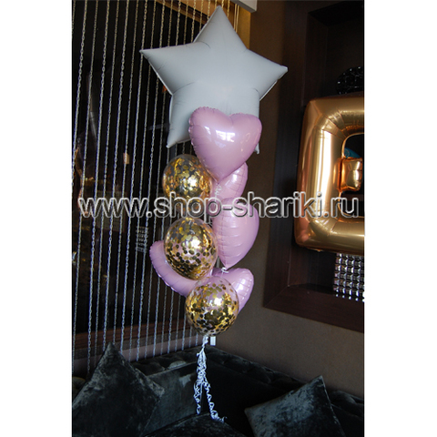 Фонтан из шаров с сердцами звездой и конфетти
