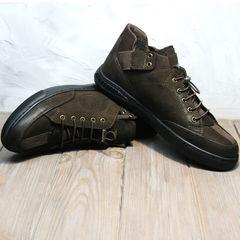 Осенние кожаные кроссовки мужские Luciano Bellini 71748 Brown
