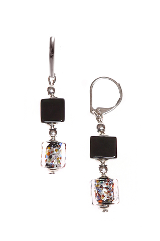 Серьги Arlecchino Cubo серебристые из муранского стекла