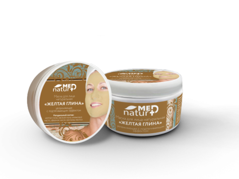 Крем-маска для лица Желтая глина увлажняющая с подтягивающим эффектом 250 мл НИИ Натуротерапии ТМ Натурмед