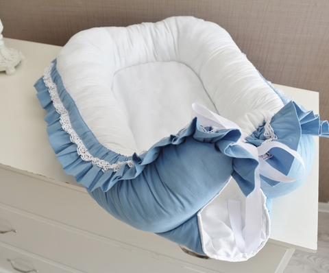 Babynest , гнездышко, кокон для младенца Сказка, голубой