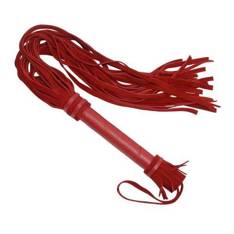 Красная плеть с кожаной ручкой - 65 см.