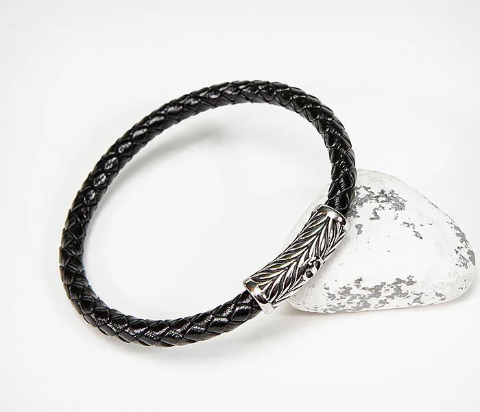 BM583 Мужской браслет шнур из кожи на магнитной застежке фото 07