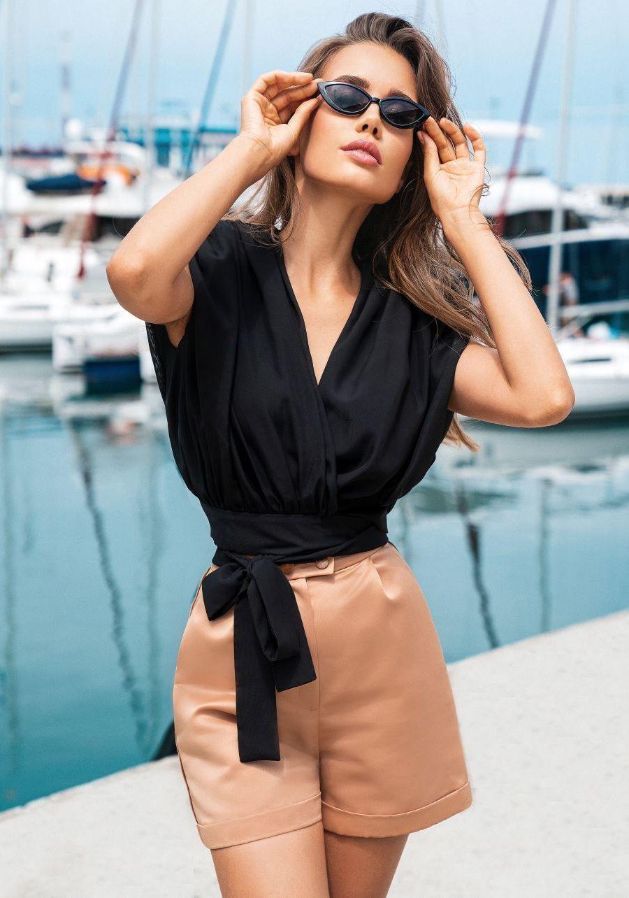 Блуза  из шифона черного цвета