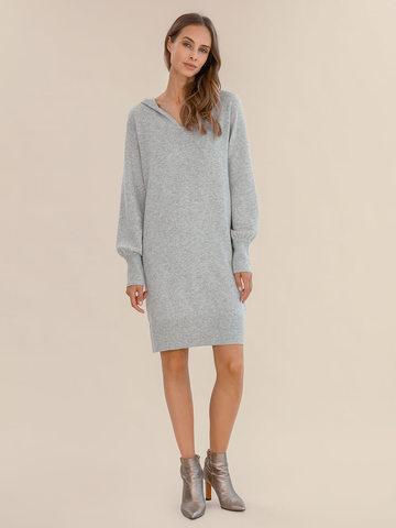 Женское платье светло-серого цвета из шерсти и кашемира - фото 2