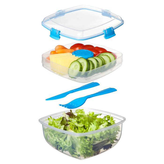 """Контейнер для салата с разделителями и приборами Sistema """"TO GO"""" 1,1 л, цвет Голубой"""
