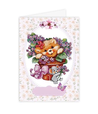Открытка–папертоль Медвежонок с цветами – главное фото сюжета.