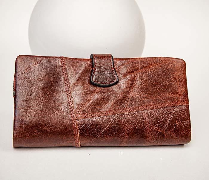 WL252-5 Кожаный клатч красного цвета фото 03