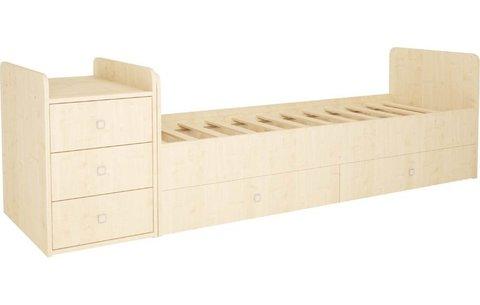 Кроватка детская Polini kids Simple 1111 с комодом, натуральный