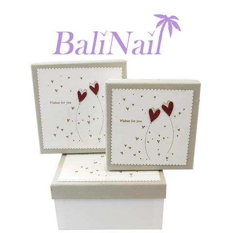 Коробка подарочная квадратная Премиум, 15,5х15,5х6,5см, /серый/бежевый/красный