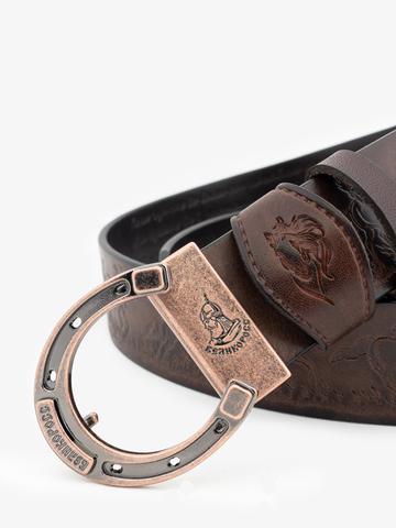 Ремень «Вольные кони» коричневого цвета