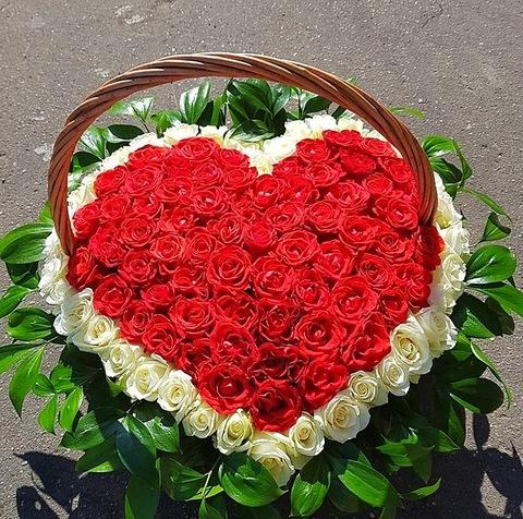 151 роза в корзине #17532