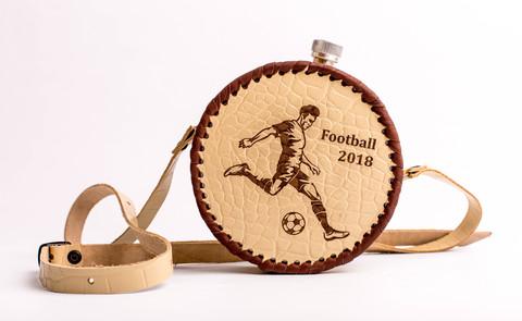 Фляга круглая в кожаном чехле «Football-2018», 500 мл