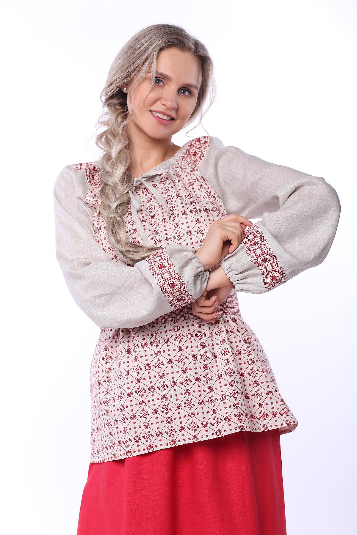 Блуза льняная Макошь на сером приближенный фрагмент