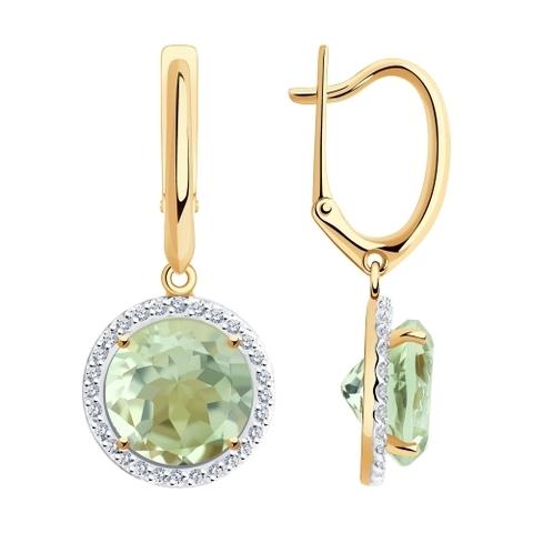 727096 - Серьги из золота с аметистами и фианитами