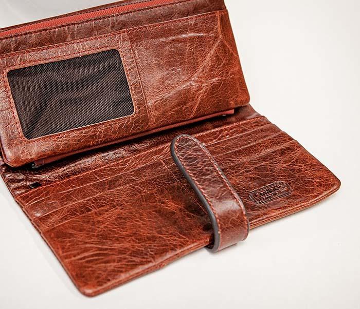 WL252-5 Кожаный клатч красного цвета фото 05