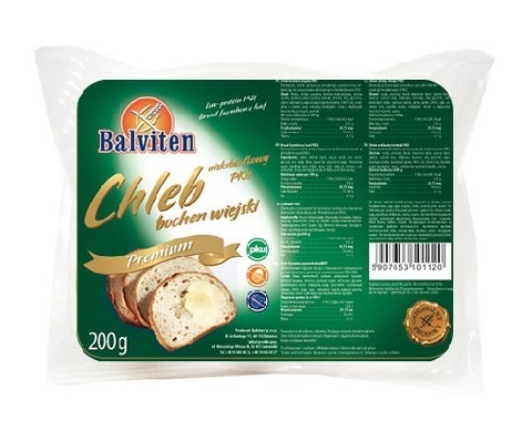 Хлеб низкобелк Chleb bochen wiejski ФКУ 200г Balviten