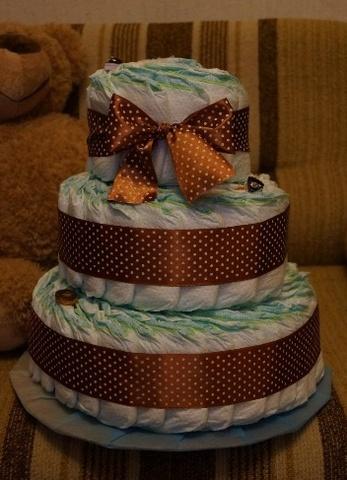 Торт из подгузников для мальчика