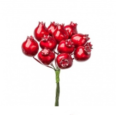 Набор ягод глянцевых на вставках 12шт., размер: D2x3xL10см, цвет: красный
